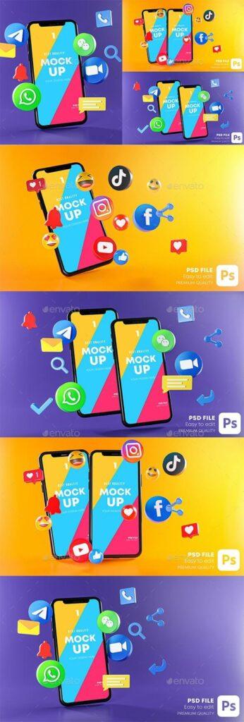 Most Popular Social Media Phones Mockup (1)
