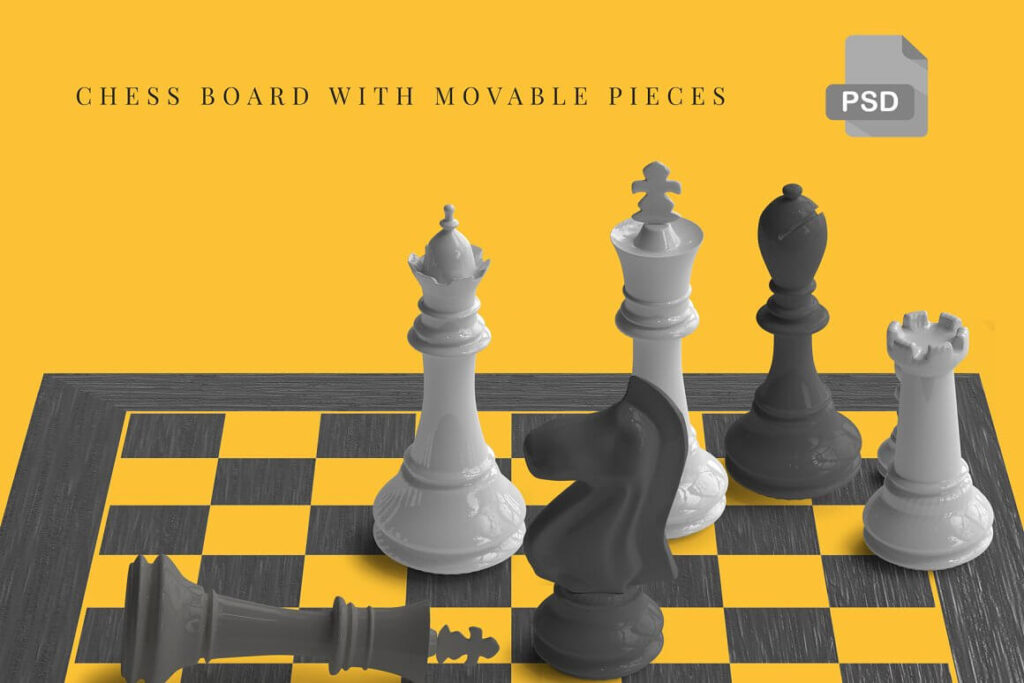 Movable Chess Pieces Chess Mockup (1)