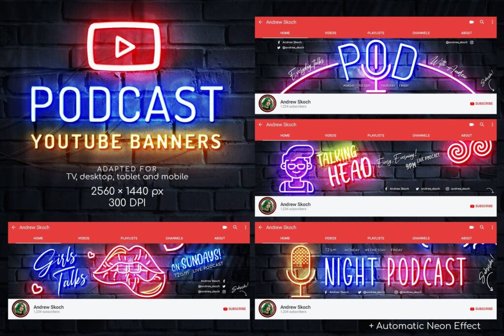 Neon Podcast YouTube Templates (1)