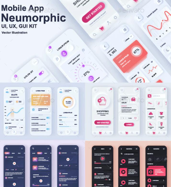 Neumorphic Mobile App UI Kit1