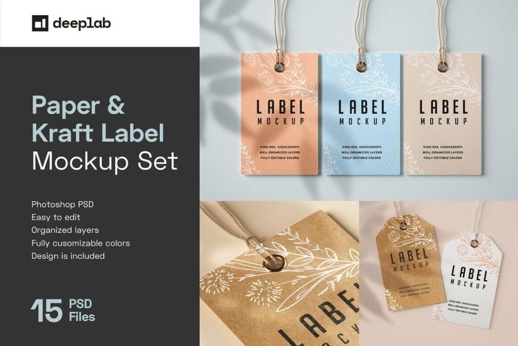 Paper & Kraft Label Tag Mockup Set (1)