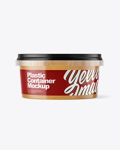 Plastic Container with Peanut Butter Mockup (1)