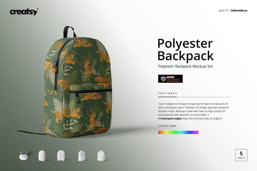 Polyester Backpack Mockup Set (1)