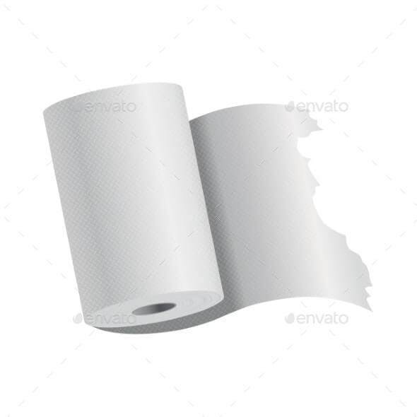 Realistic Toilet Paper or Kitchen Towel Roll (1)