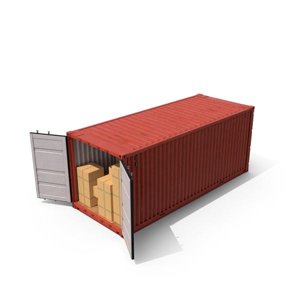 Shipping Container with Boxes