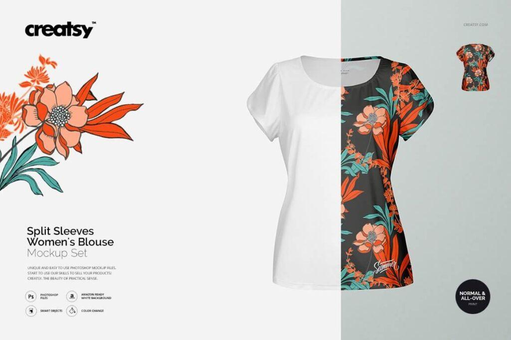 Split Sleeves Women's Blouse Mockup (1)