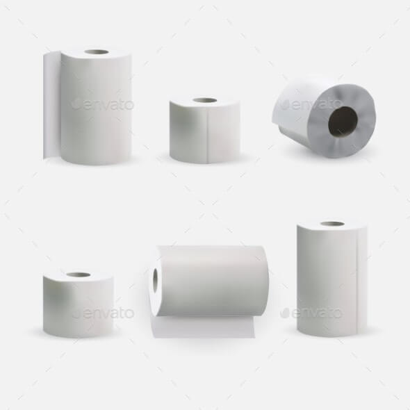 Toilet and Kitchen Towel Roll Paper Mockup Set (1)