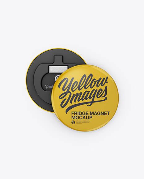 Two Glossy Round Fridge Magnets Mockup (1)