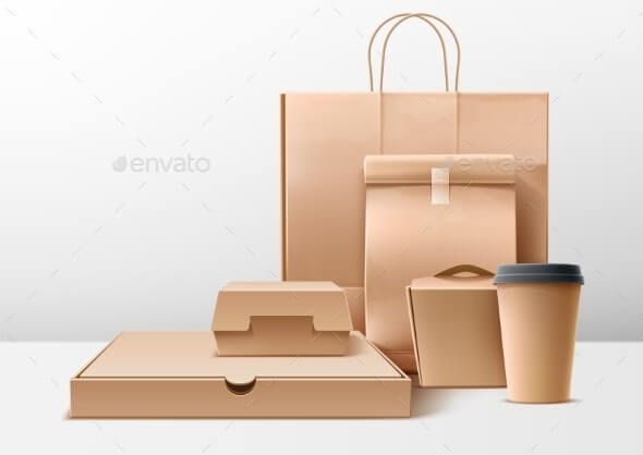 Vector Cardboard Food Boxes Shopping Bags Set (1)