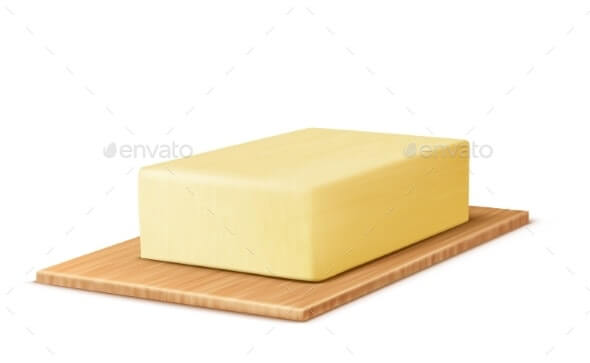 Vector Realistic Stick of Butter on Cutting Board (1)