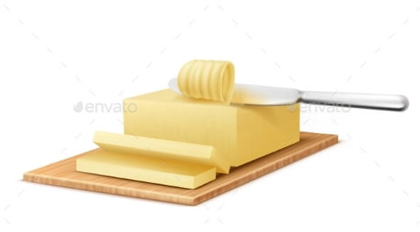 Vector Yellow Stick of Butter with Metal Knife (1)
