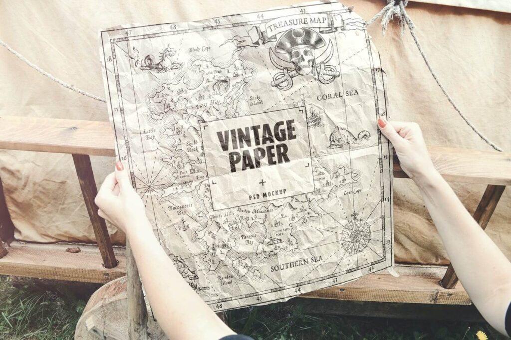 Vintage Paper Poster Map Mockup (1)