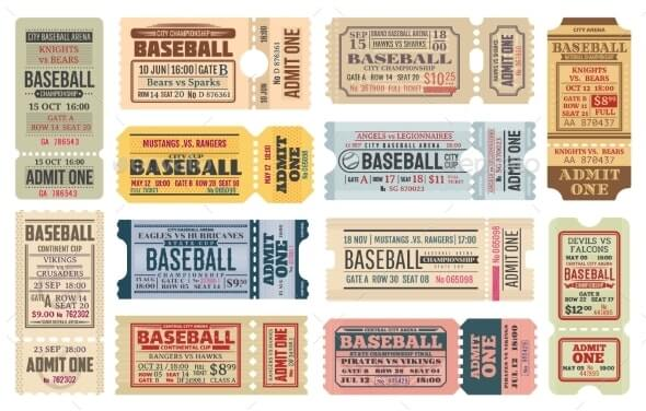 Vintage Tickets on Baseball Game Vector Templates (1)