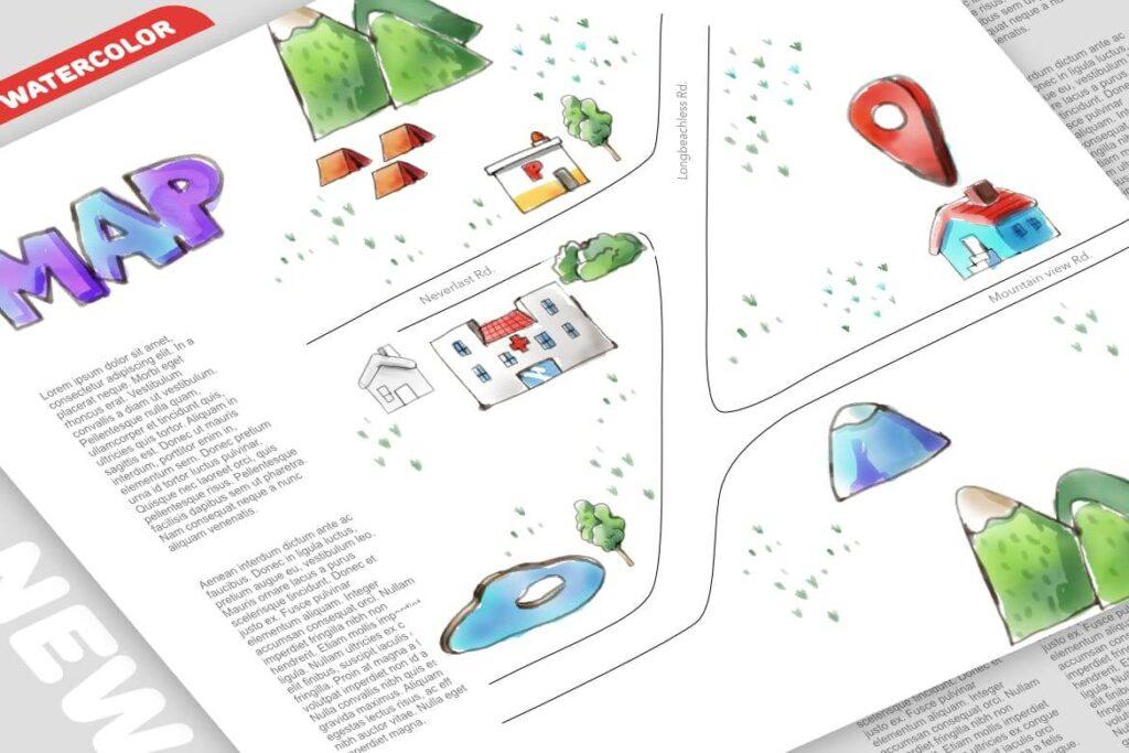 Watercolor map DIY premade (1)