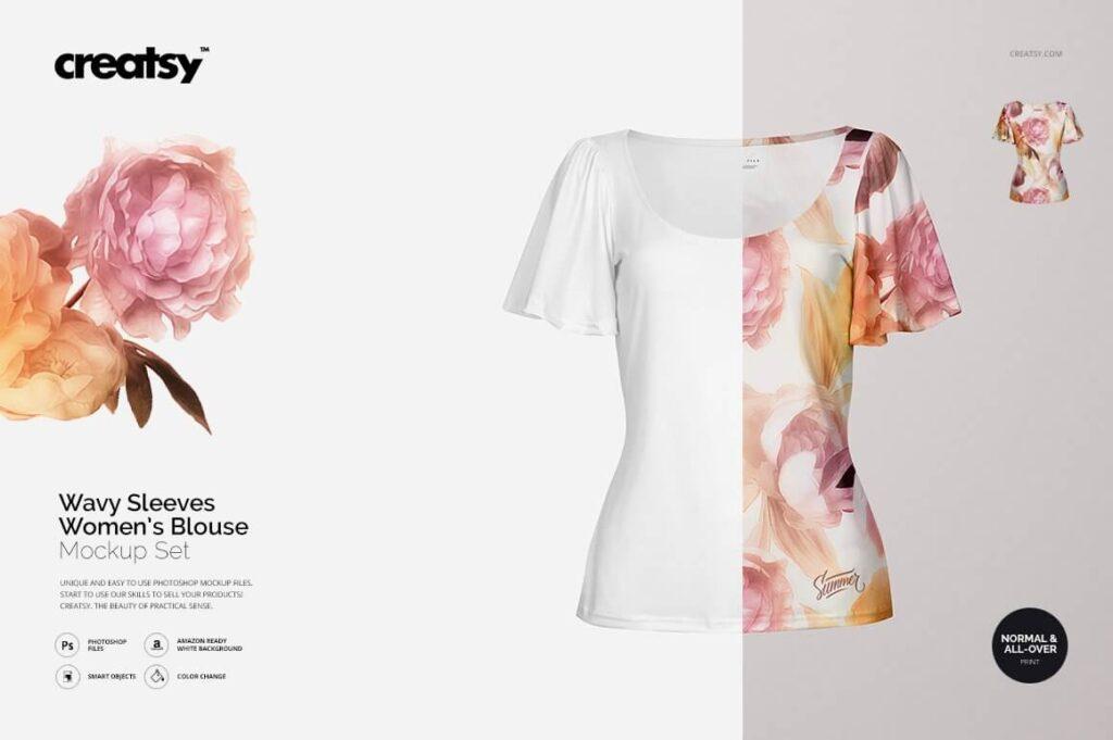 Wavy Sleeves Women's Blouse Mockup (1)