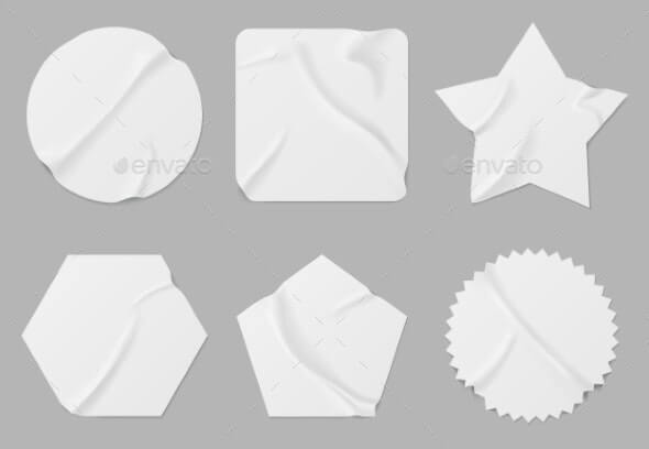 White Stickers or Patches Mockup Blank Labels (1)