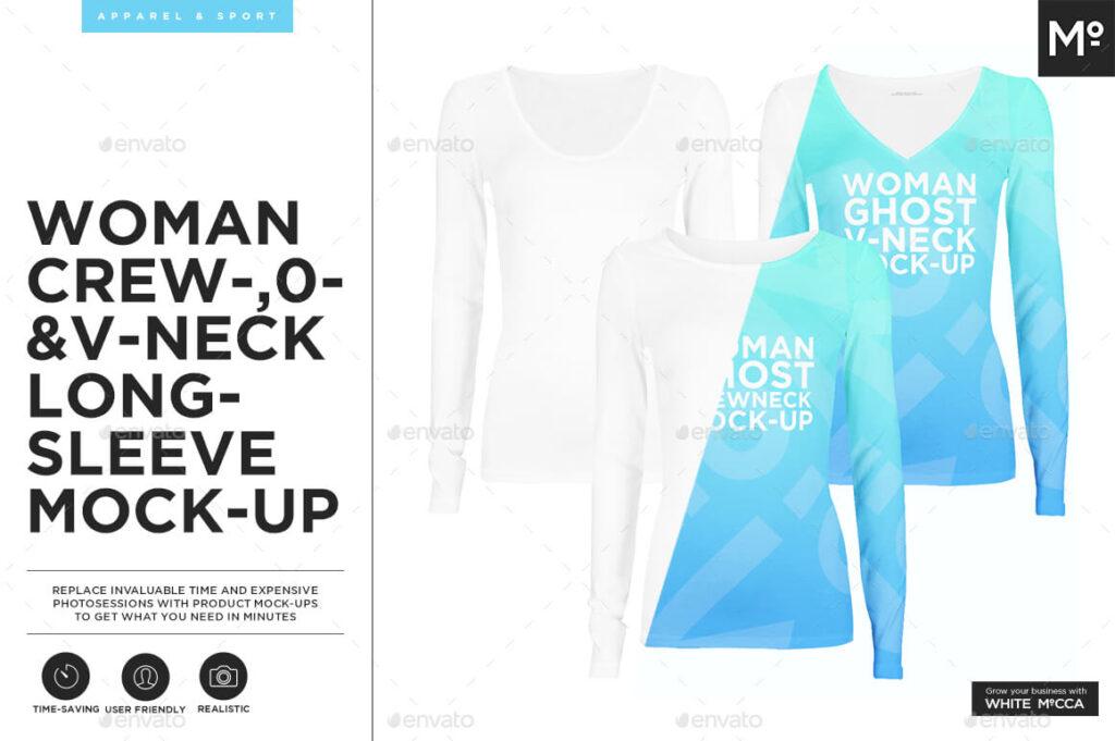 Woman Crew- O- V-neck Longsleeve Ghost Mockup (1)