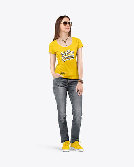 Woman in a Crew Neck T-Shirt & Jeans Mockup (1)