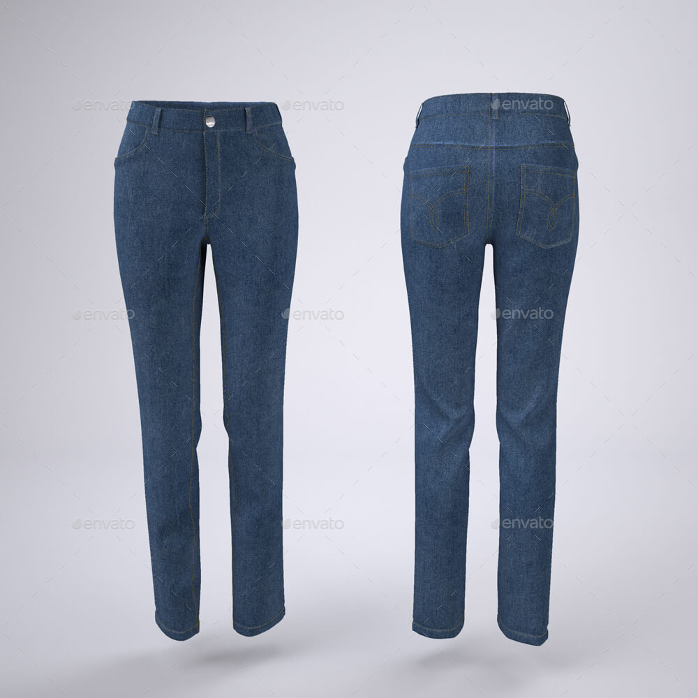 Woman's Denim Jeans or Trousers Mock-Up (1)