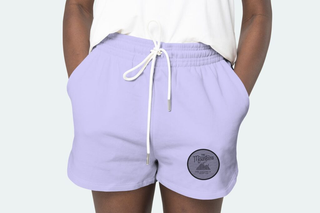 Women's purple shorts psd mockup with logo