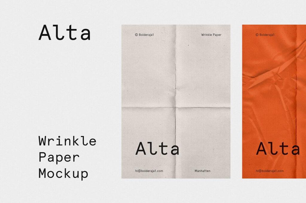 Wrinkle - Fold Paper Mockup (1)