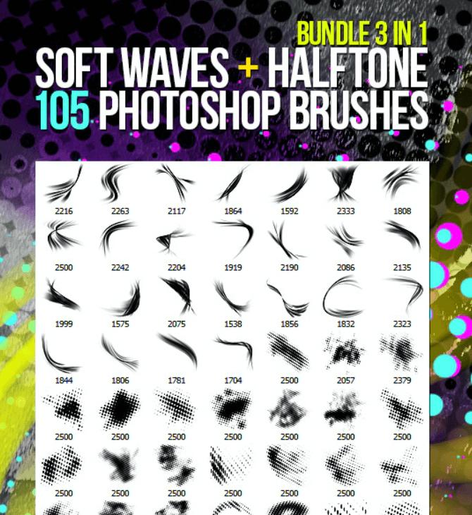 105 Soft Waves + Halftone Photoshop Brushes Bundle