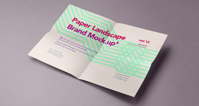 Free Landscape A4 Paper Mockup PSD Template (1)