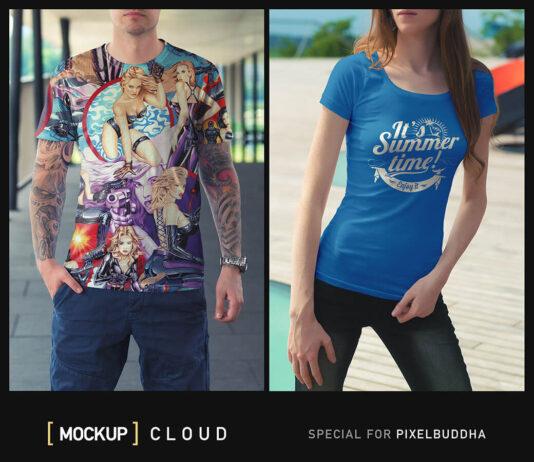 Free Photorealistic T-Shirt Mockups PSD Templates (1)