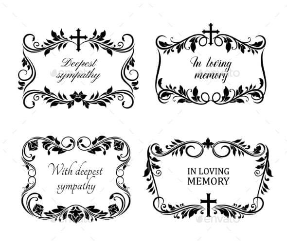 Funeral Cards Vector Condolence Floral Wreaths (1)