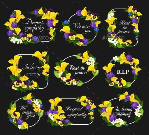 Funeral Cards Vector Condolence Floral Wreaths (2)