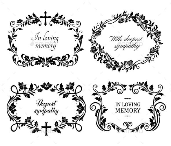 Funeral Mourning Frames with Roses and Lily Flower (1)