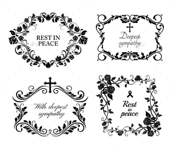 Funeral Wreath Cards Flowers Obituary RIP Frames (1)