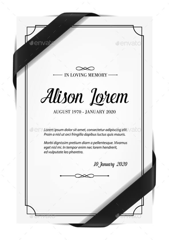 Funerary Card Template with Obituary and Ribbon (1)