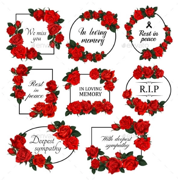 Funereal Floral Borders with Red Roses Vector (1)