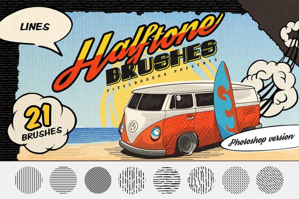 Halftone Lines Vintage Photoshop Brushes (1)