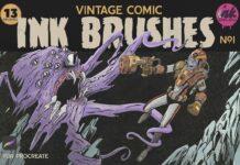 Procreate Vintage Comic Ink Brushes (1)